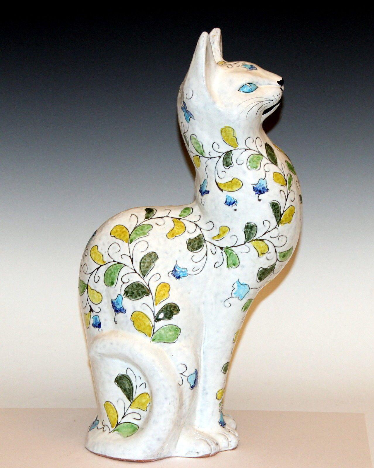 Vintage Italian Art Pottery Cat Figure Incised Floral Bagni Bitossi ...