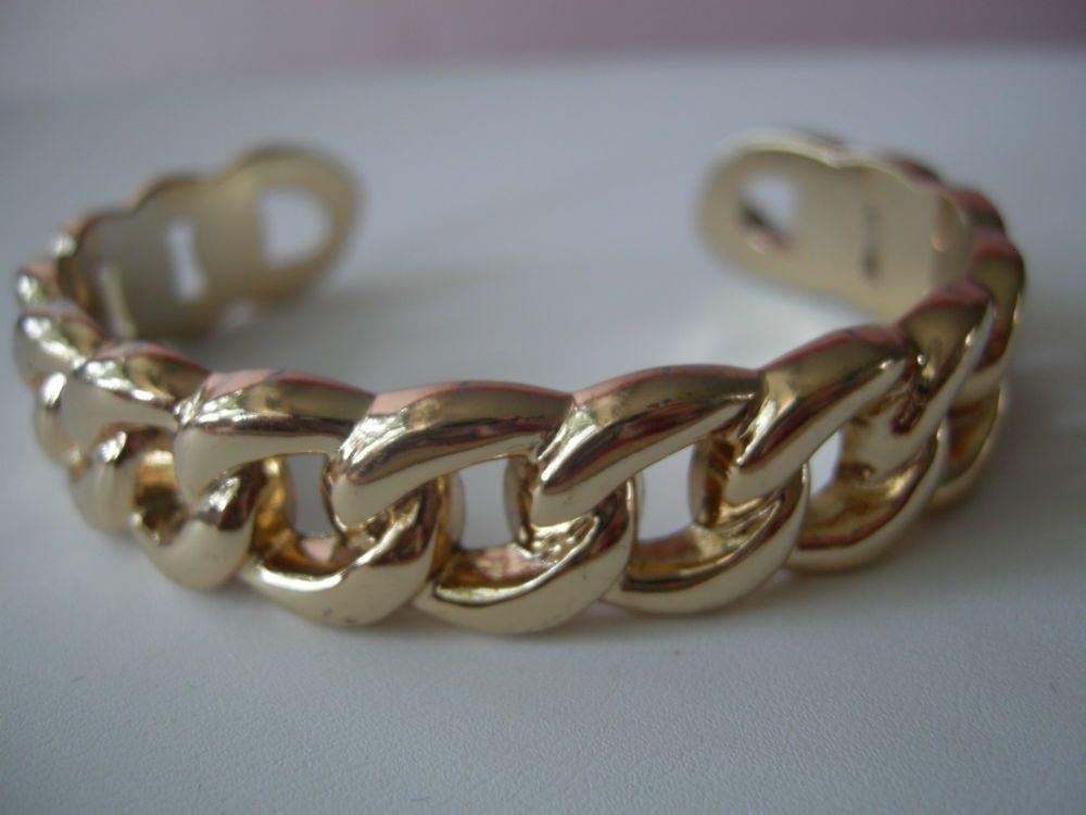Cuban Link Cuff Bracelet Shiny Gold Tone Fixed Cuban Link Cuff Bangle Bracelet #Unbranded #Cuff
