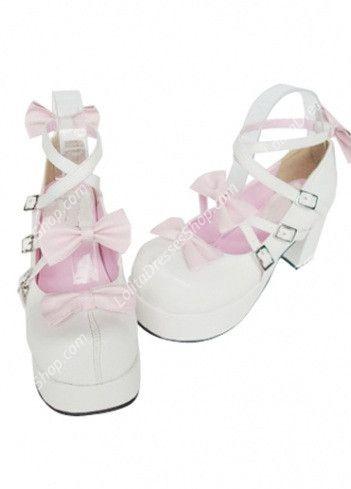 Princess Cute PU White High Heel Bowknots Lolita Shoes