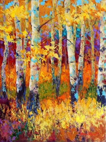 The White Birches Stand Out Against The Warm Autumn Colors In This
