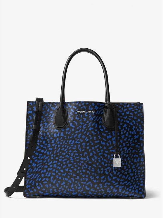 5beafa84b1f3 Michael Kors Mercer Black/Electric Blue Leopard Leather Textured Coated  Canvas Tote #Doris_Daily_Deals #