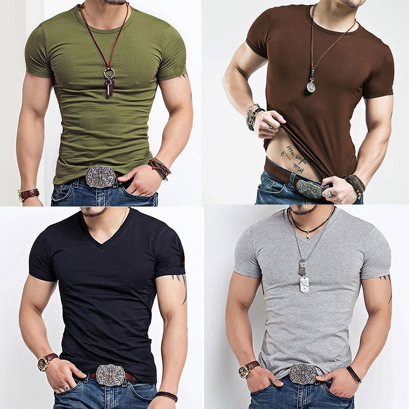 7654230894b9 Fashion Men's Tee Shirt Slim Fit V Neck Short Sleeve Muscle T Shirts Top  Quality