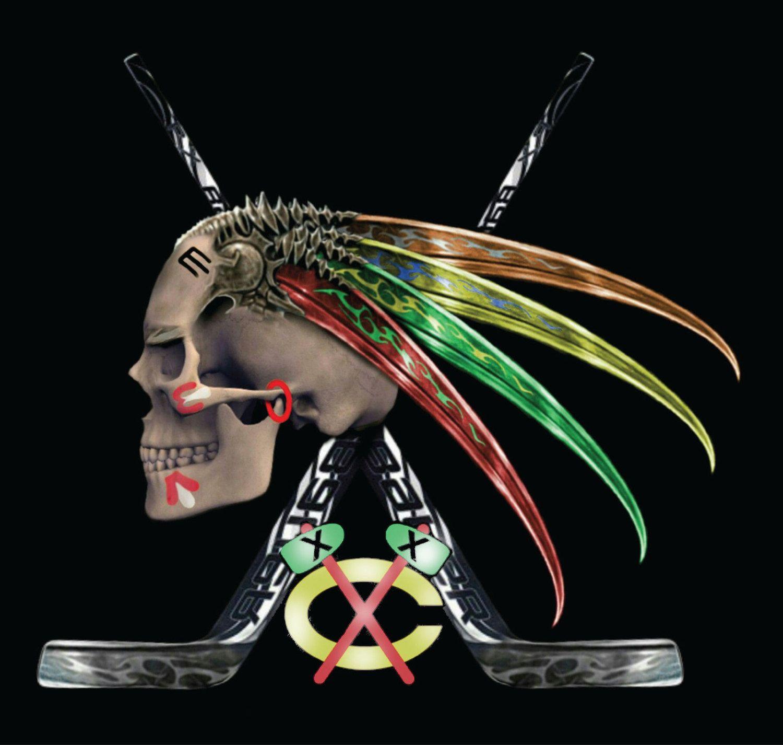 pretty nice d2e00 4e877 Chicago Blackhawks Skull Hawk w/Tomahawk & Feathers 4