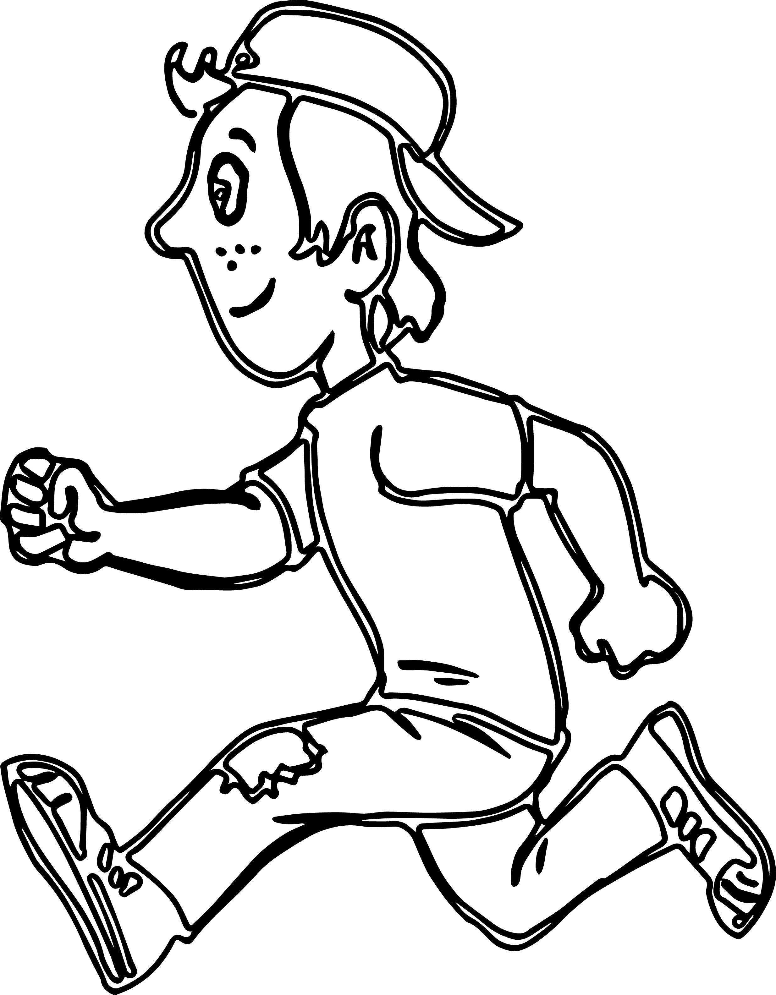 Awesome Running Boy Coloring Pages Verbos