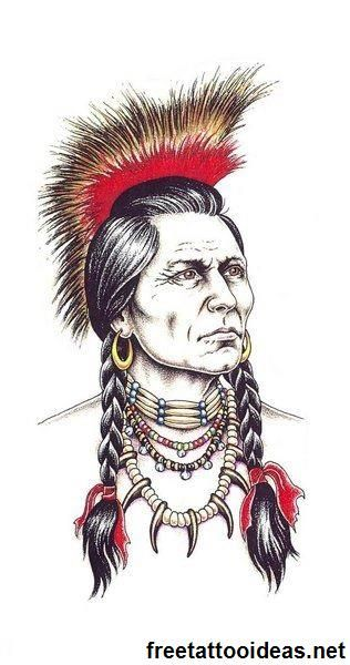 Native American tattoo - http://www.freetattooideas.net/category/native-american-tattoos/