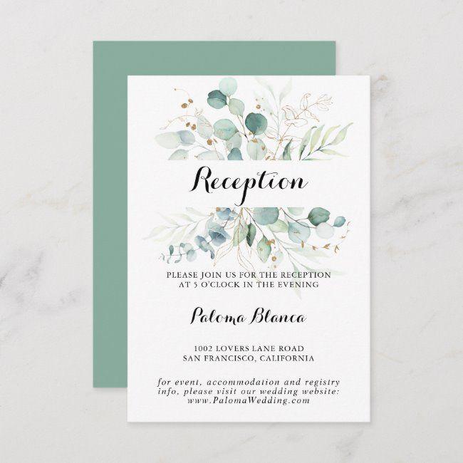 Rustic Eucalyptus Gold Floral Wedding Reception Enclosure Card #Ad , #sponsored, #Wedding#Floral#Enclosure#Reception