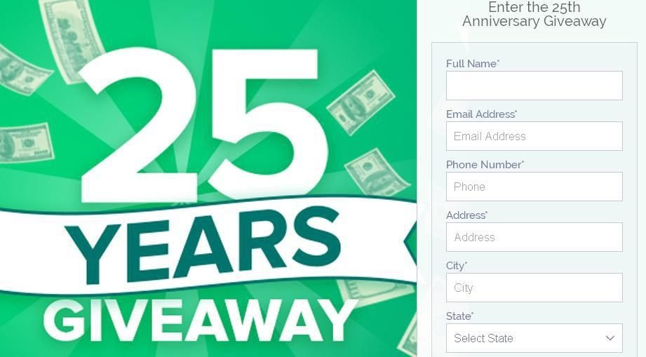 Check Into Cash 25th Anniversary Giveaway Win 1 000 Cash Prize Contestbig 25th Anniversary Cash Prize Anniversary