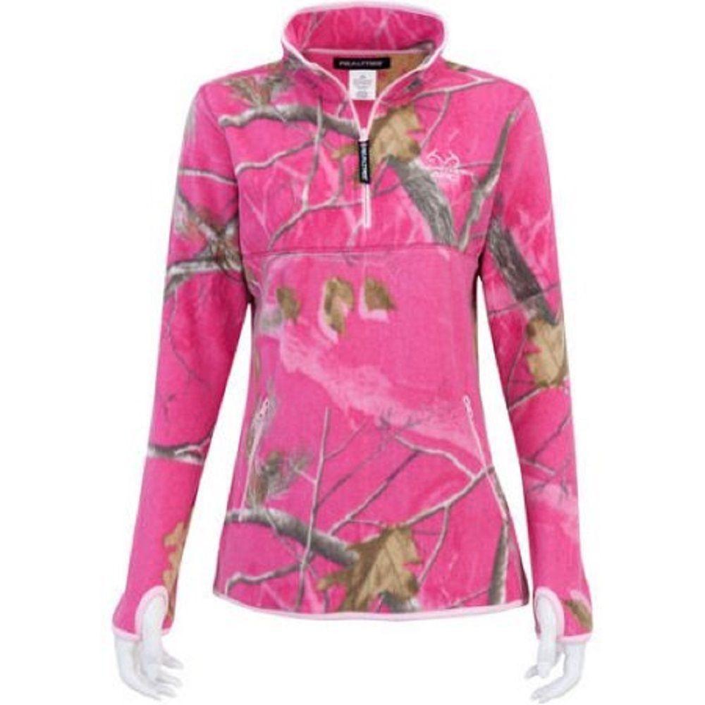 RealTree Ladies Half Zip Micro Fleece, Realtree APC Dark Pink, 2XL