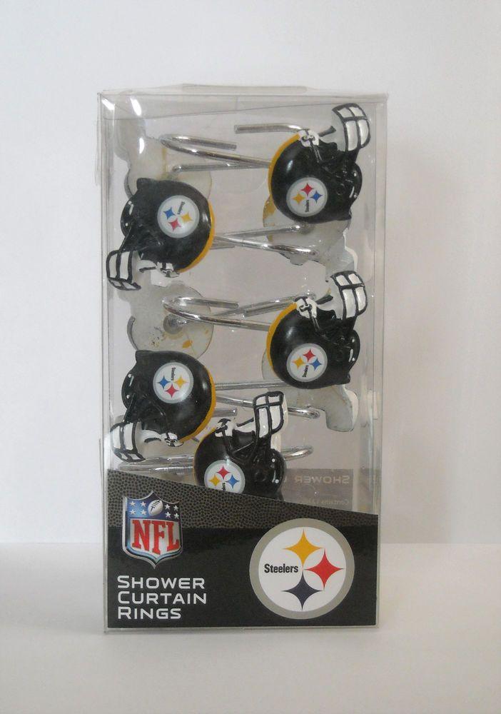 Nfl Pittsburgh Steelers Shower Curtain Rings Hooks Set Of 12 New In Box Thenorthwestcompany Pittsburghsteelers Steelers Rings Pittsburgh Steelers Logo Nfl Steelers