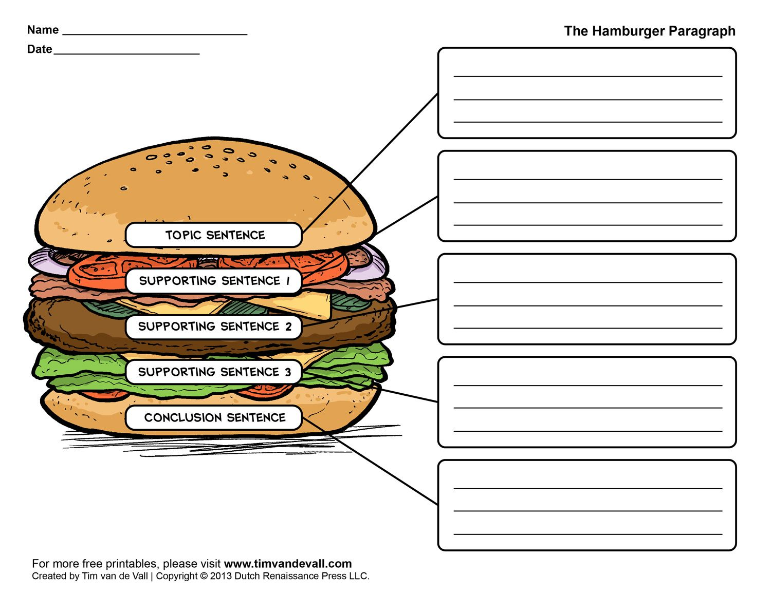 hamburger paragraph worksheet language arts printables literacy resources pinterest. Black Bedroom Furniture Sets. Home Design Ideas