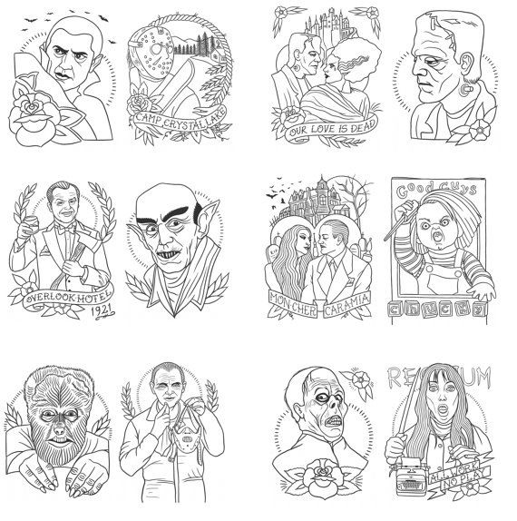 Image Of Horror Themed Tattoo Flash Coloring Book By Quyen Dinh Coloring Books Pattern Coloring Pages Creepy Art