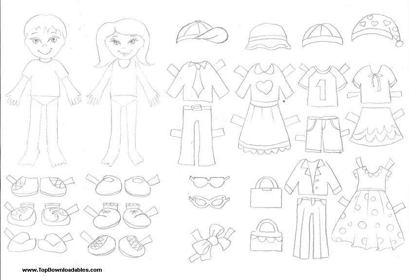 picture relating to Free Printable Paper Dolls Black and White called Cost-free Printable Paper Doll Cutout Templates for Youngsters and