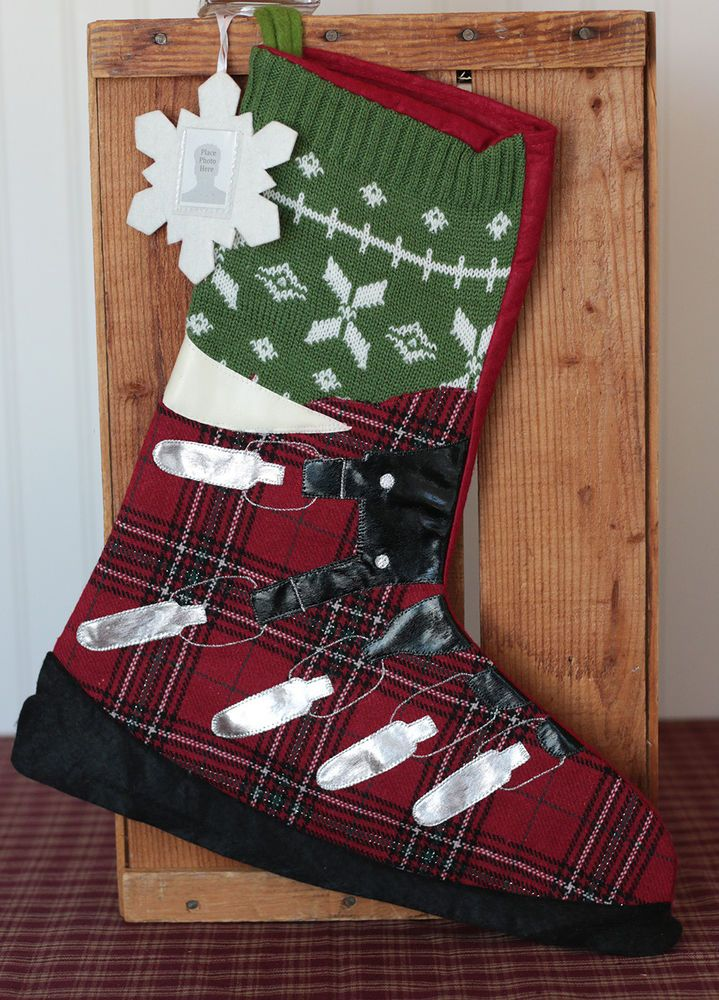 Ski Boot Christmas Stocking by Outside Inside #OutsideInside #cabinchristmas #christmasstockings #freeshipping