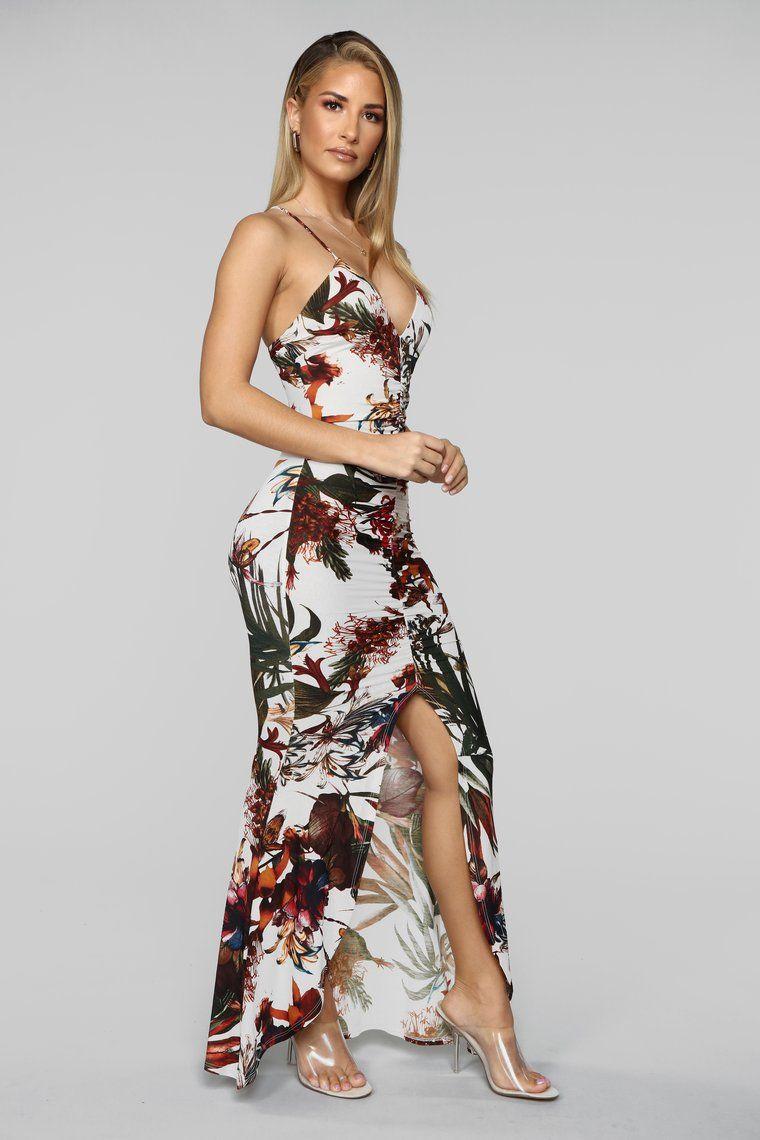 Chasing Waterfalls Ruched Maxi Dress Ivory/Multi