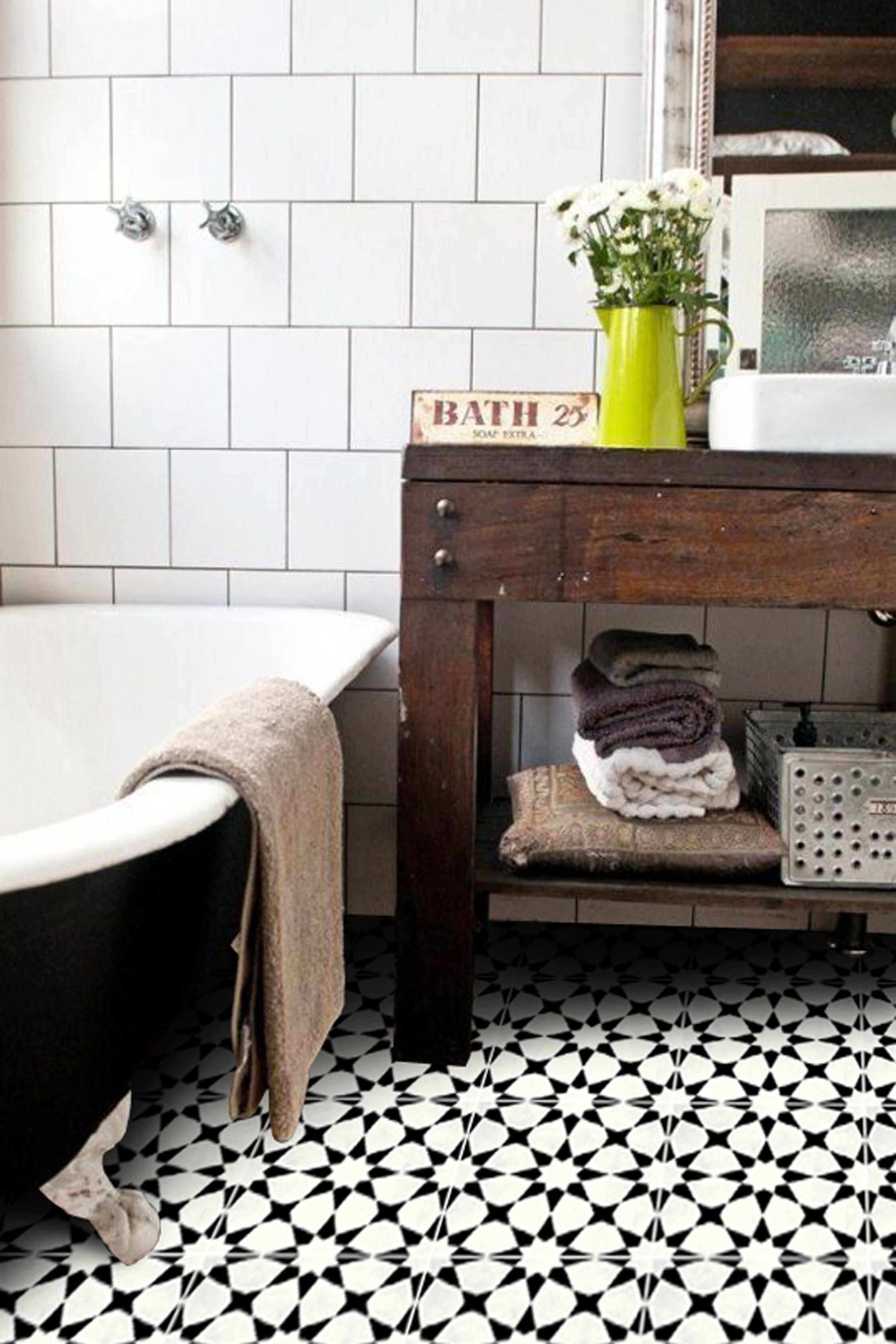 Agadir In Black Floor Sticker In 2020 Bathroom Floor Tiles
