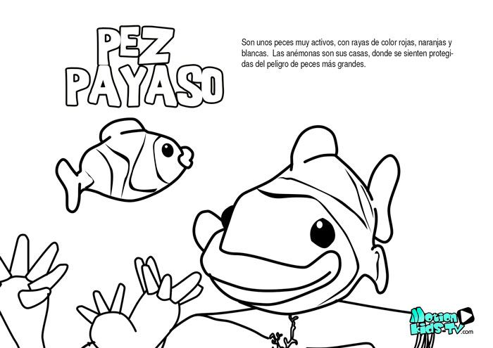 pez payaso, dibujos colorear peces. Recursos educativos animales ...