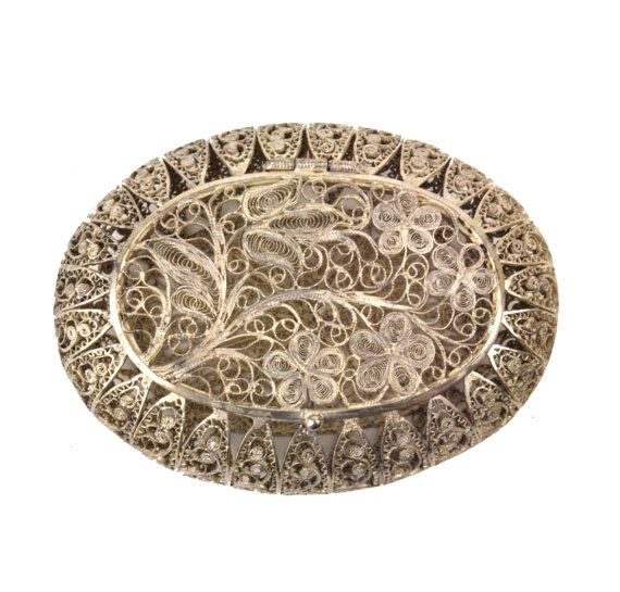 Vintage Sterling Silver Filigree Box // Rosary Jewelry Ring Pill Trinket Box // Intricate Scrollwork Hinged Box, Floral Motif, Oval 2-5/8 #rosaryjewelry