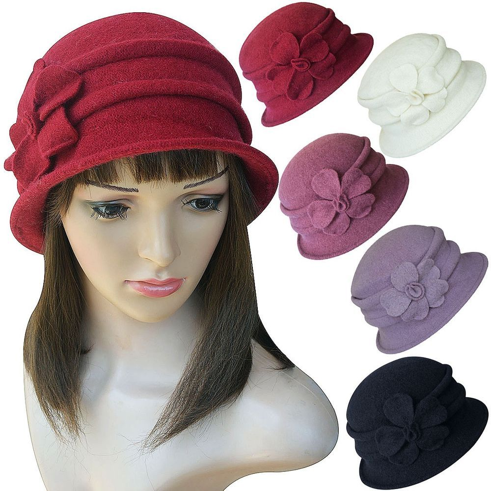 250d3efa7e3 A222 Women Ladies 1920s Winter Wool Cap Cloche Crochet Bucket Floral Church  Hat  Handmade  Bucket