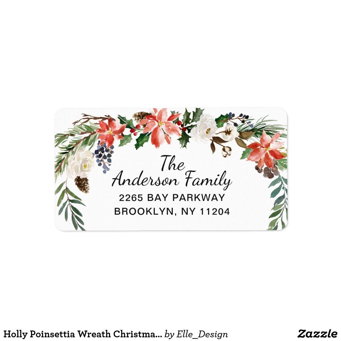 Holly Poinsettia Wreath Christmas Return Address Label