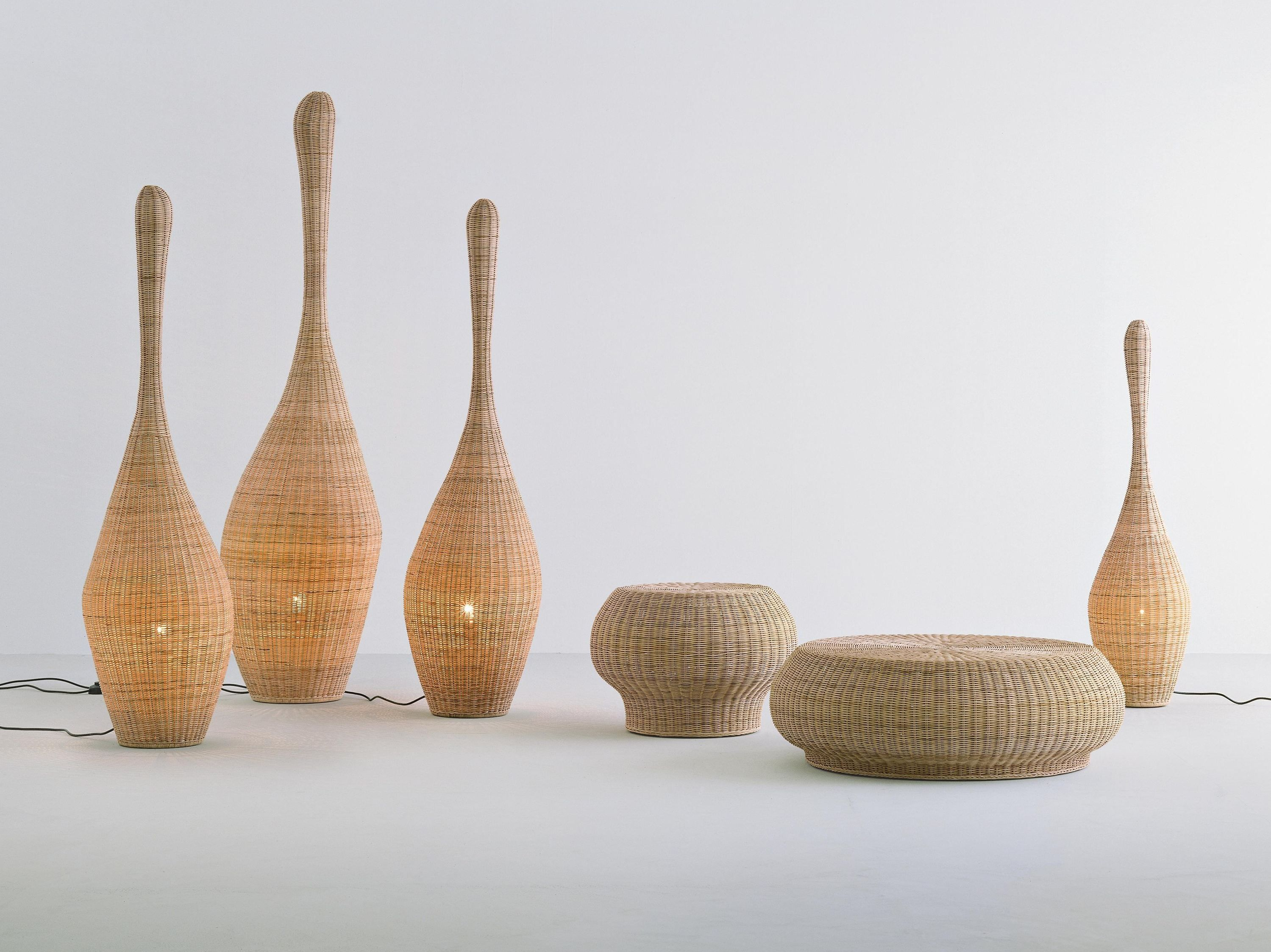 Nice Statuette Of Wicker Table Lamps Concept