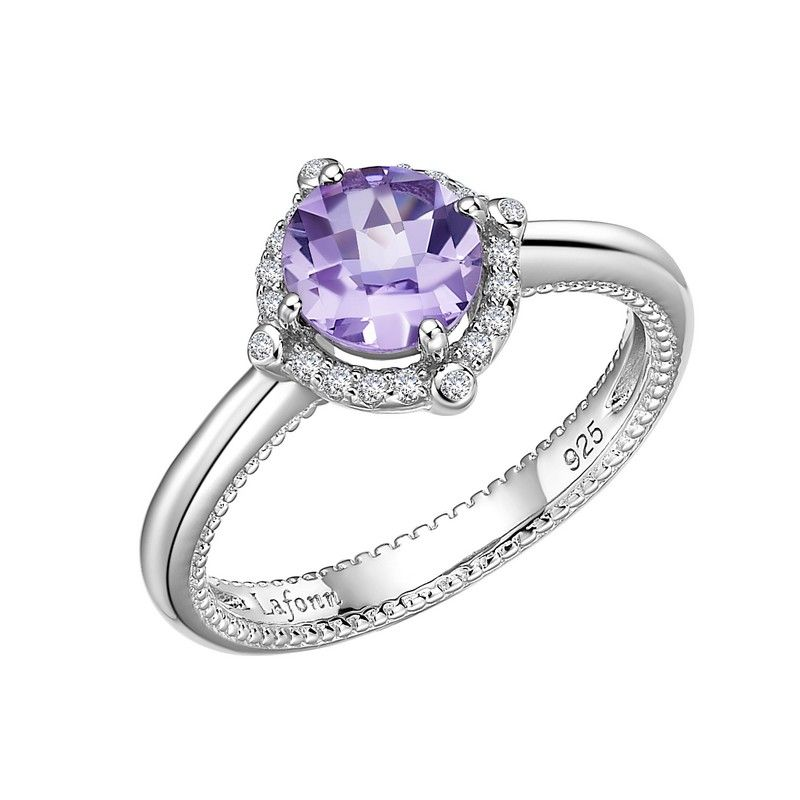 Natural  amethyst Gemstone Adjustable Ring silver 925 Gift For Her March Birthstone Amethyst cabochon Ring