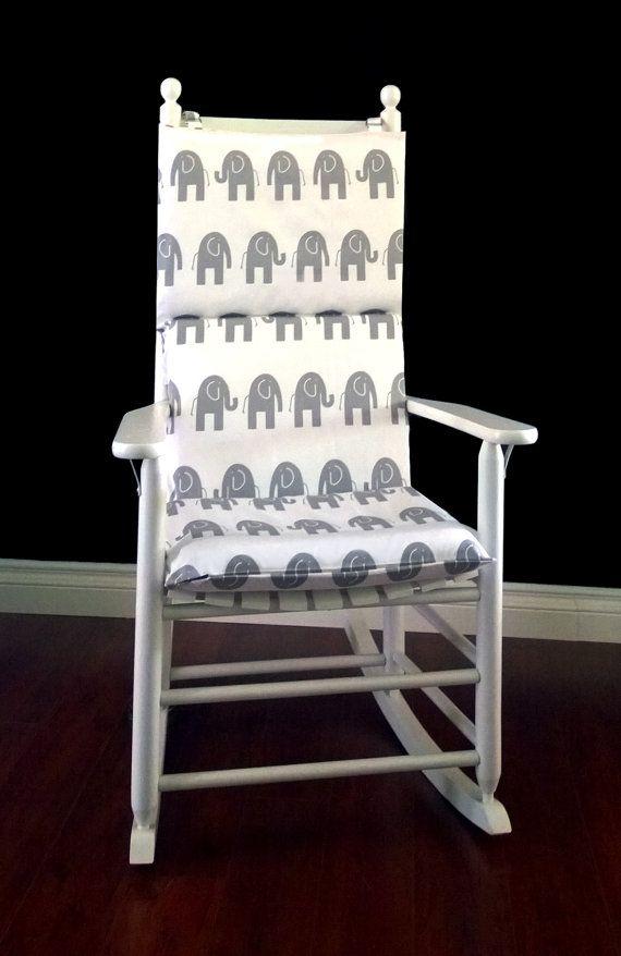Elephants Rocking Chair Cushion, Nursery Room Rocking