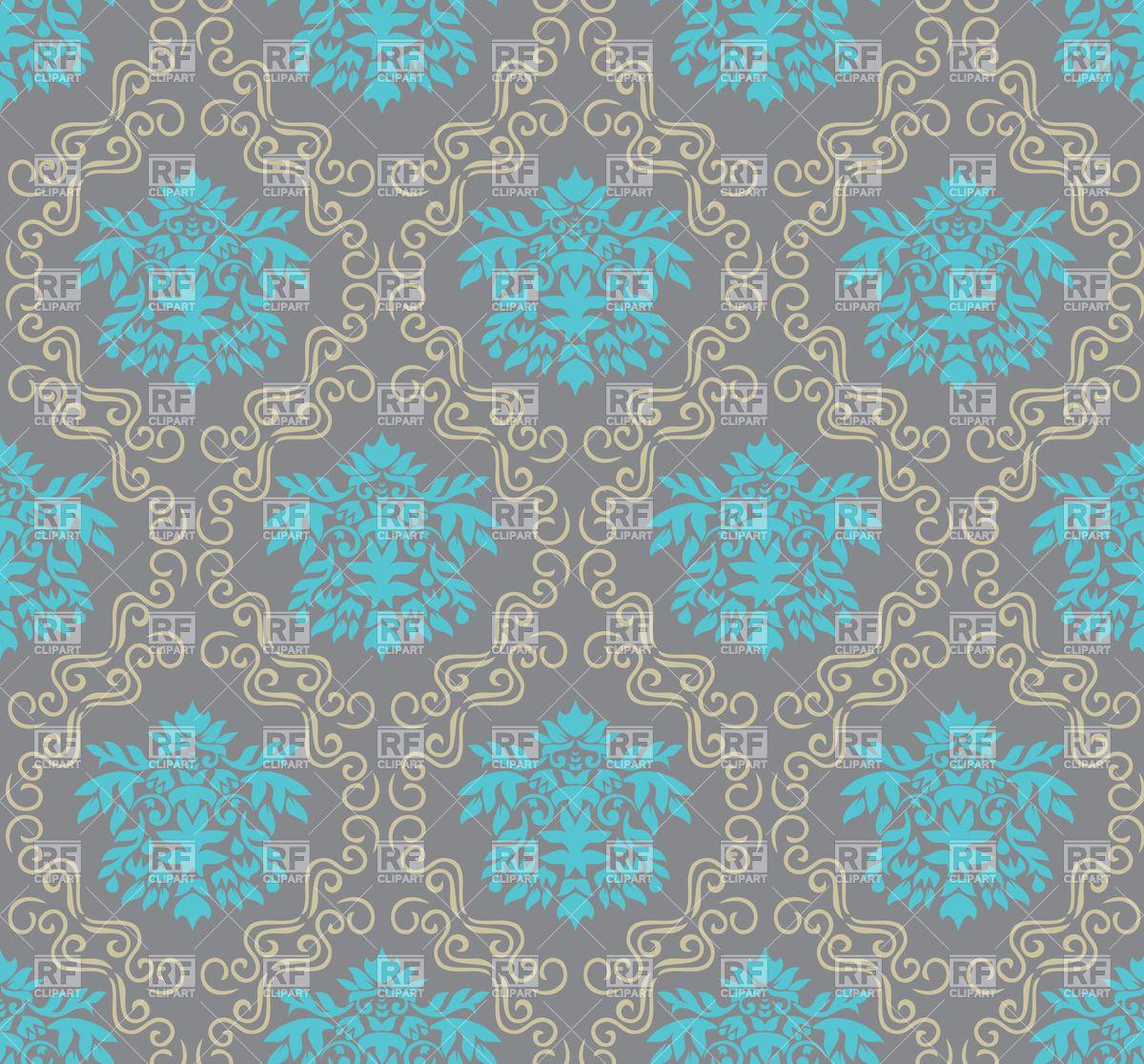 Seamless ornate damask wallpaper gray and blue, 20289