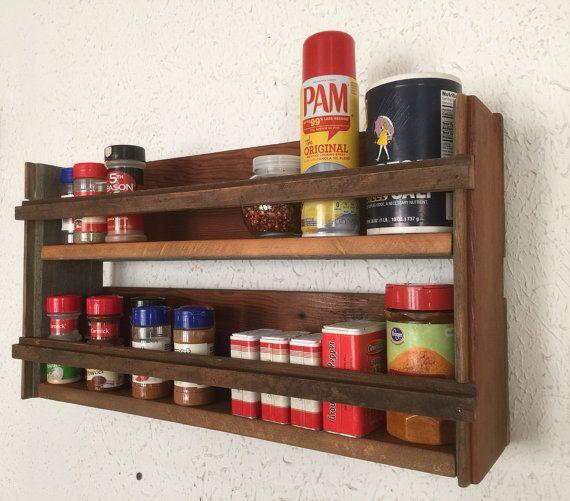 Barn wood spice rack, Handmade barnwood home decor, Primitive rustic country kitchen decor, Kitchen shelf