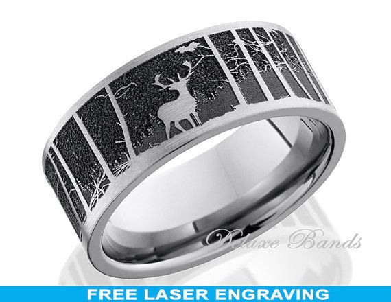 Awesome Do you love the outdoors and have a deep passion for hunting especially elk This mm flat band with a laser carved elk pattern and a mountain scene