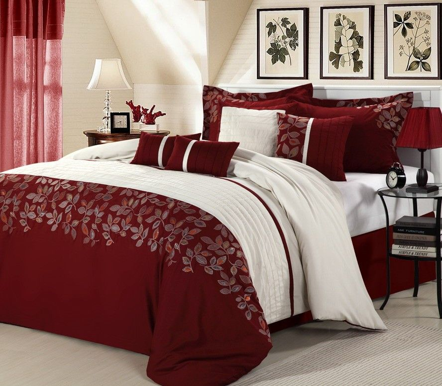 8pc Luxury Bedding Set Montana Burgundy White Cal King Queen Bb2585 110 00 Smart Saver Llc Comfortable Bedroom Bedroom Comforter Sets Comforter Sets