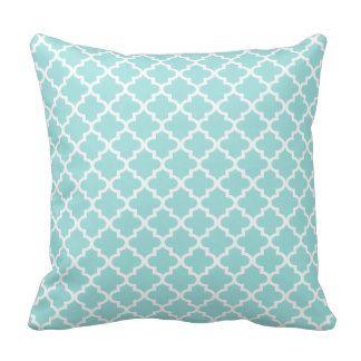 Moroccan Quatrefoil Pattern Pillow Aqua Blue