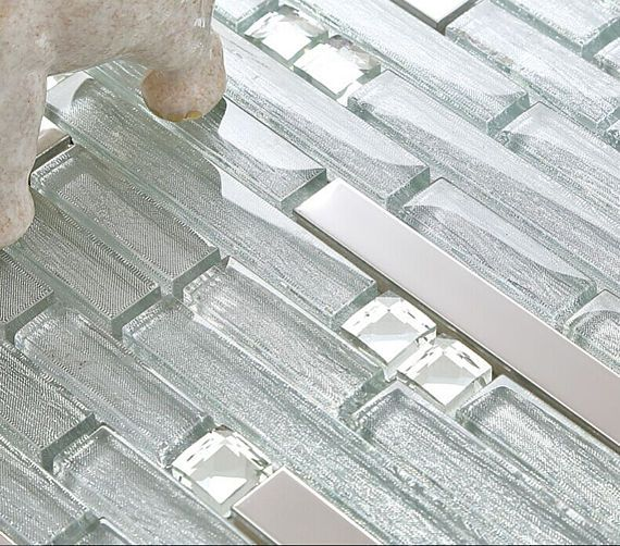Clear Glass Tile Rhinestone Crystal Mosaic Silver Stainless Steel