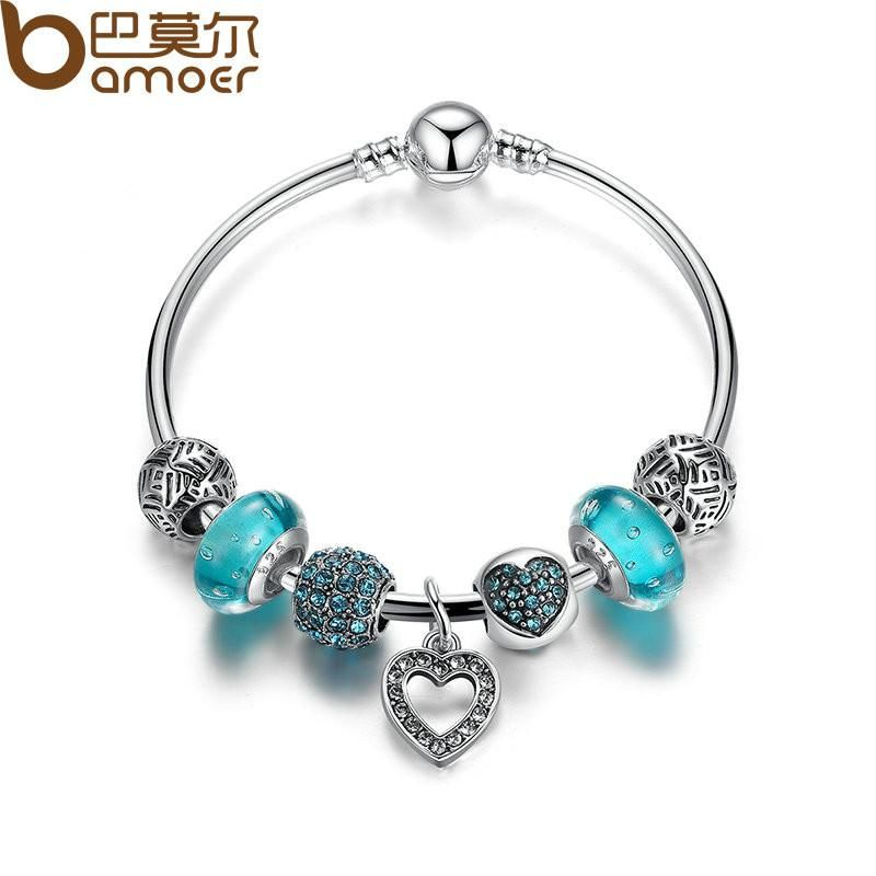 Sterling Silver Heart Charm Gift for Girlfriend Gift for Her Bracelet Charm for Charm Bracelets Blue Rhinestone Heart Charm or Pendant