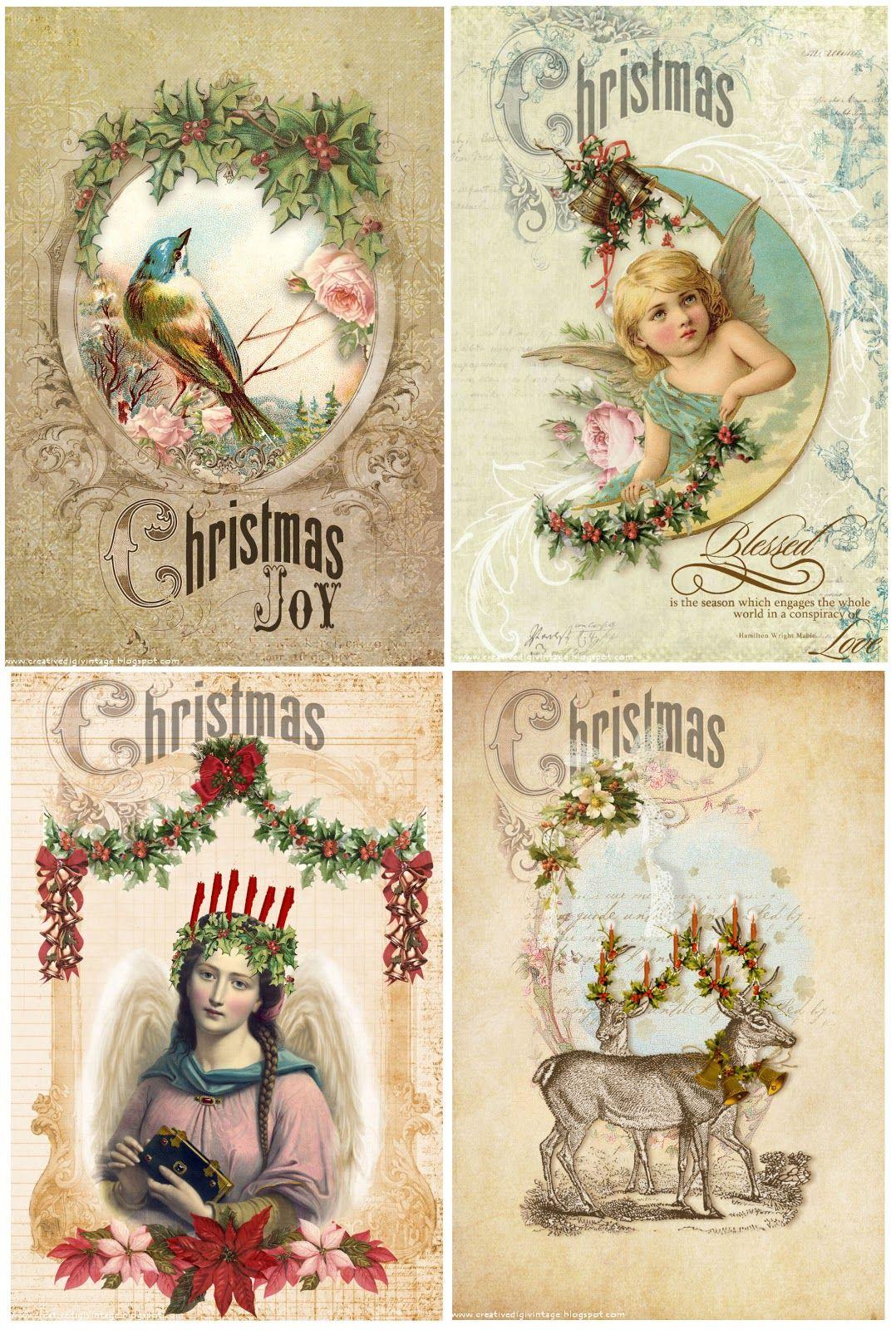 Creative Digi Vintage Free Vintage Christmas Cards Tarjetas