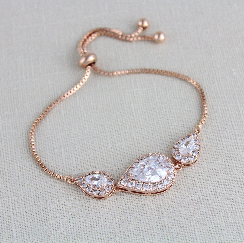 Rose gold bridal bracelet bridal jewelry wedding bracelet