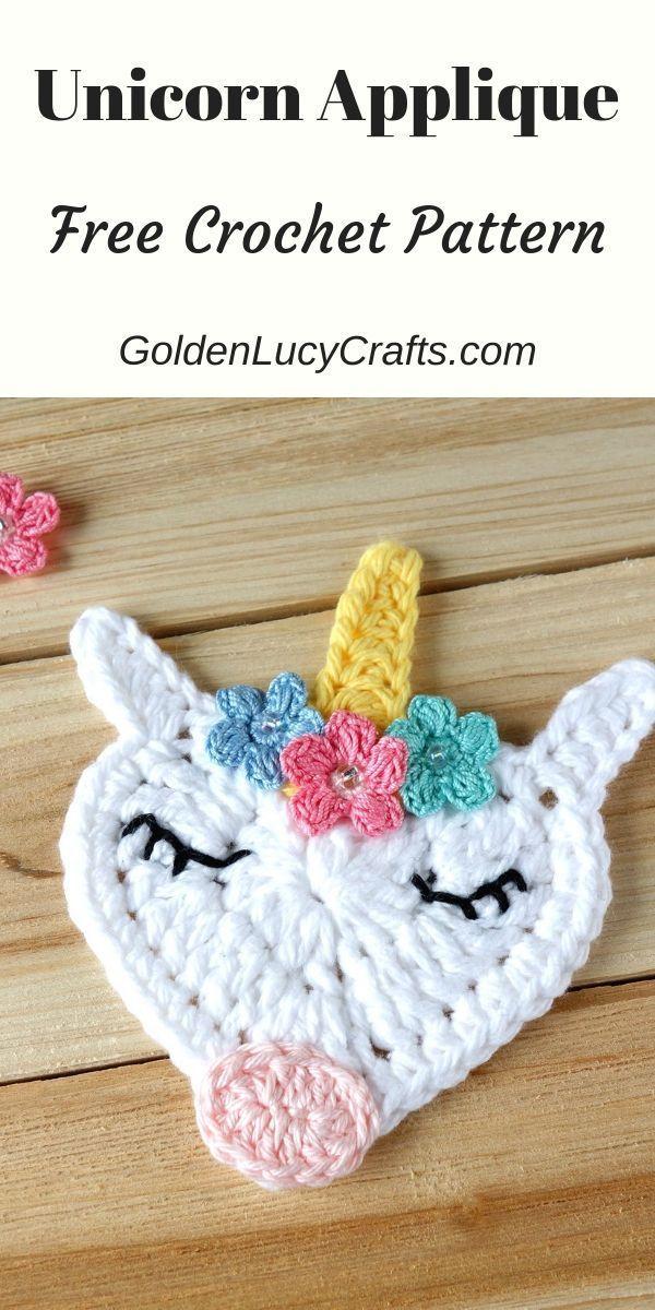 Crochet Unicorn Applique, Free Crochet Pattern – GoldenLucyCrafts #crochetapplicates