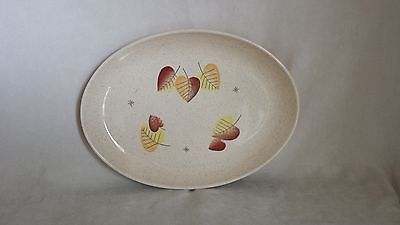 Vernon Ware Speckled Sherwood Brown Gold Yellow Leaf Pattern Platter 50's-60's