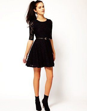 cb67caf9e4 Belted Lace Skater Dress With Long Sleeves - Black Lace Skater Dress With Long  Sleeves