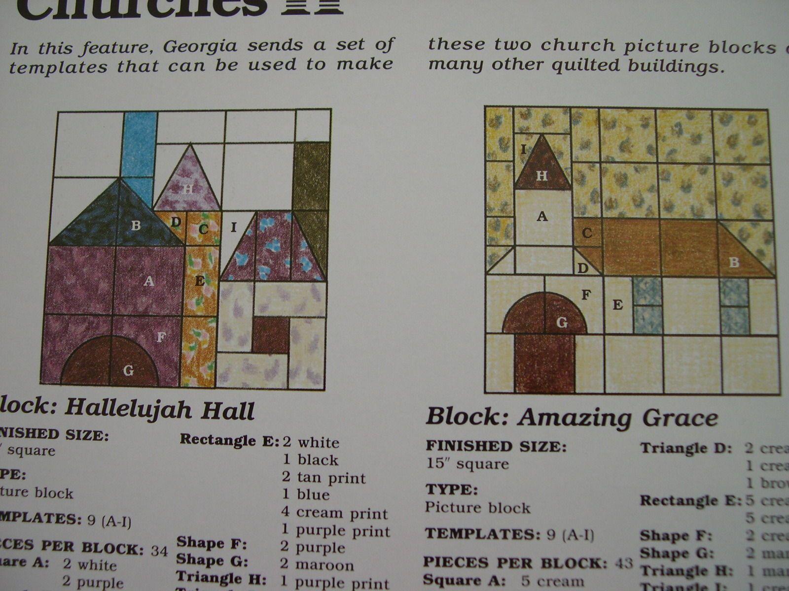 2 Church Blocks Quilt Pattern Spinning Spools w/uncut plastic templates