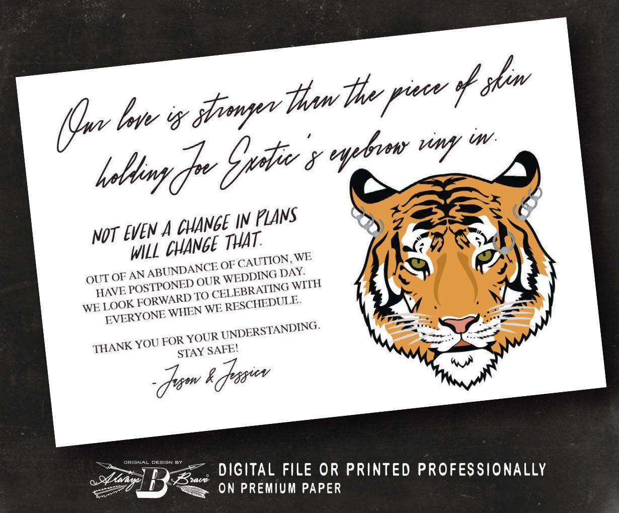 Tiger King Postponement Announcement Postcard Modern Humor