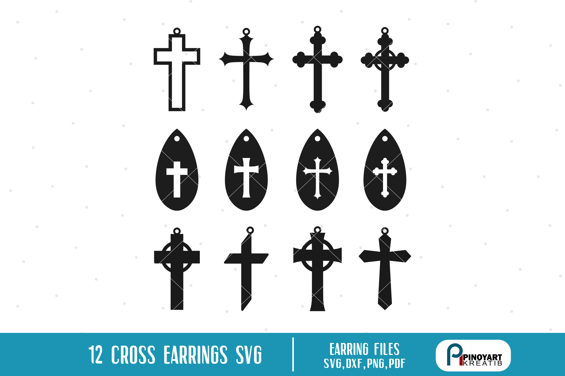 Black Teardrop Faux Leather Earrings With Cross.