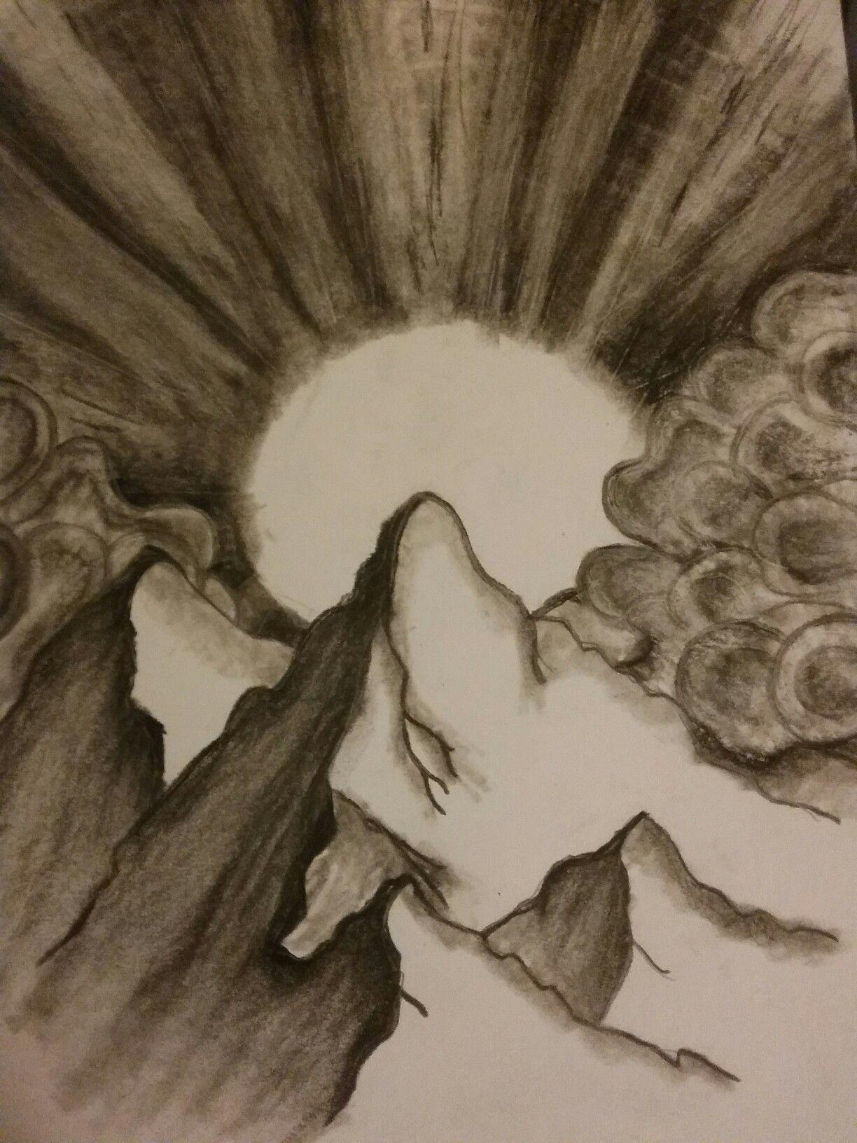 Mountain sunrise pencil drawing in 2019 sunrise drawing