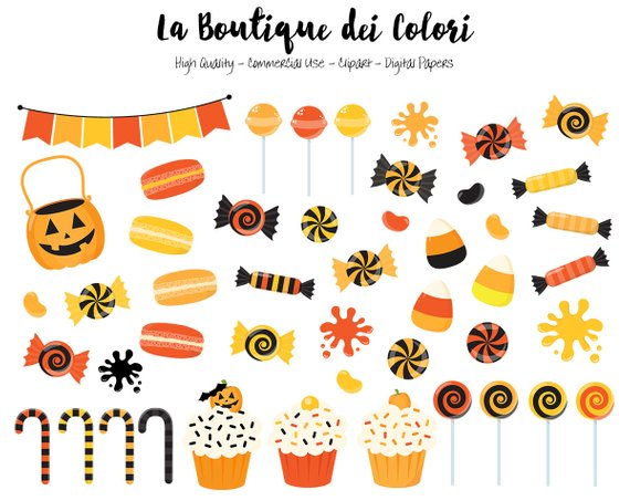 Halloween Candy Clipart Cute Digital Illustrations Png Etsy Candy Clipart Happy Halloween Signs Halloween Digital