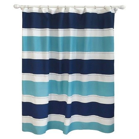 Cool Rugby Stripe Shower Curtain Blue Lake   Pillowfort™