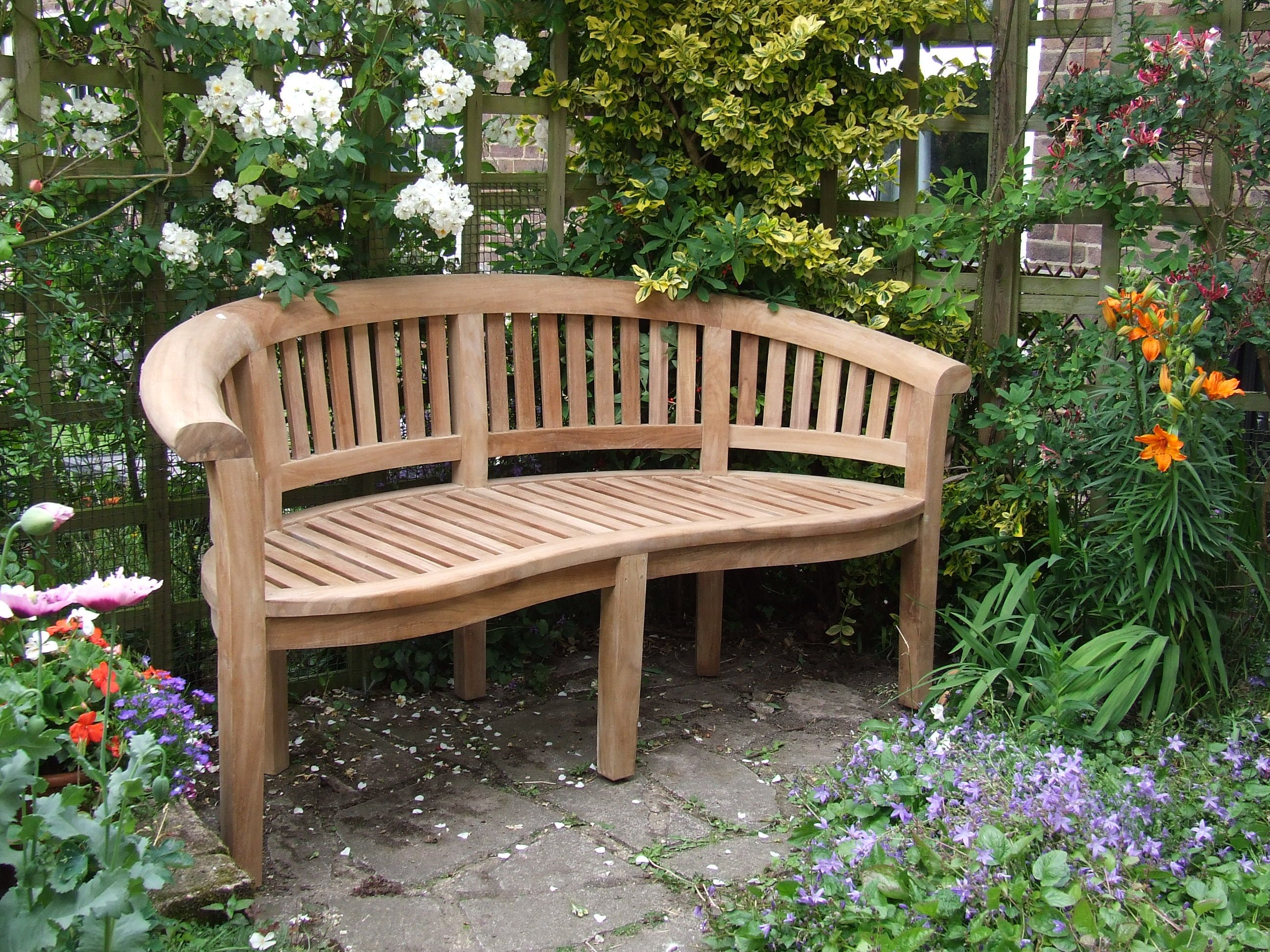 Natural Look Wooden Curved Backseat Garden Bench On Backyard