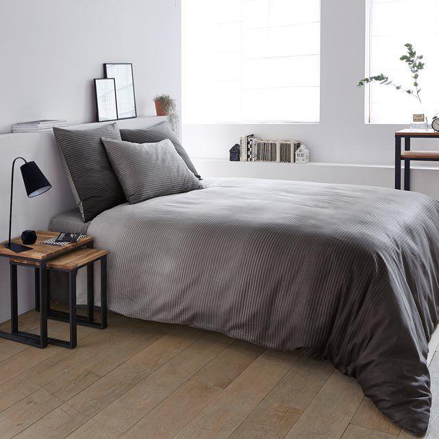 housse de couette en satin de coton rayados la redoute interieurs liebe home fourniture. Black Bedroom Furniture Sets. Home Design Ideas