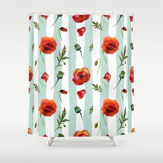 Poppy Shower Curtain Poppies Bathroom Flowers Floral