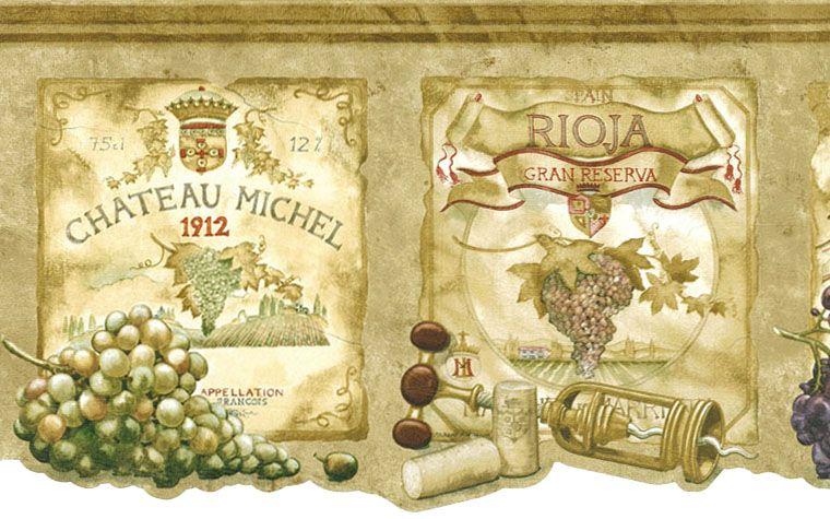 Wine Labels Grapes Tuscany Wallpaper Border 9b1 Aw77384dc Monstermarketplace Com Wine Wallpaper Grape Wallpaper Wine Painting