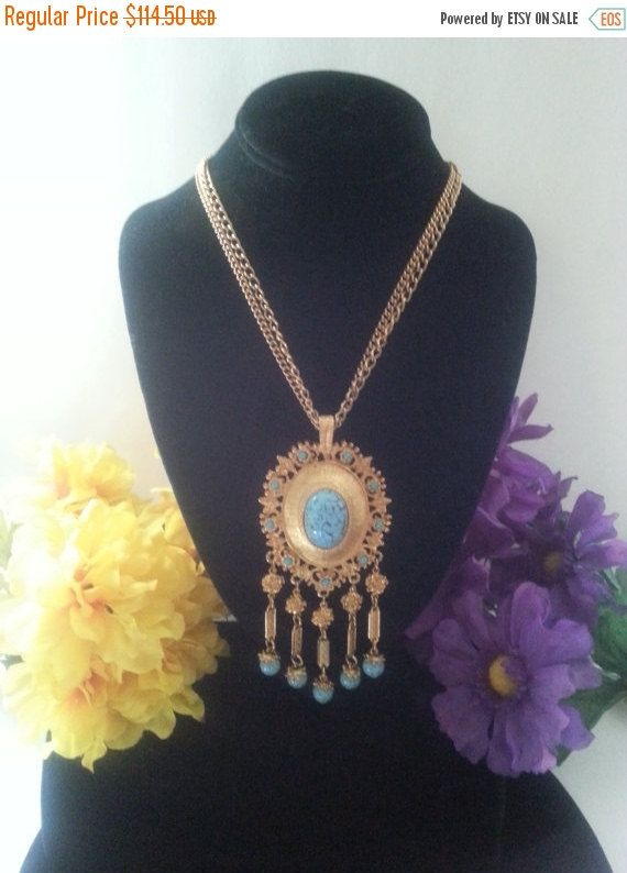 Now On Sale Vintage Southwest Style Necklace - Faux Turquoise Statement Piece - Retro Runway Necklace - 1960's 1970's Vintage Jewelry