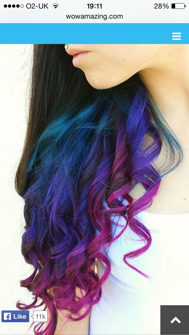 Dark Hair With Pink Purple Tips Hair Styles Bright Hair